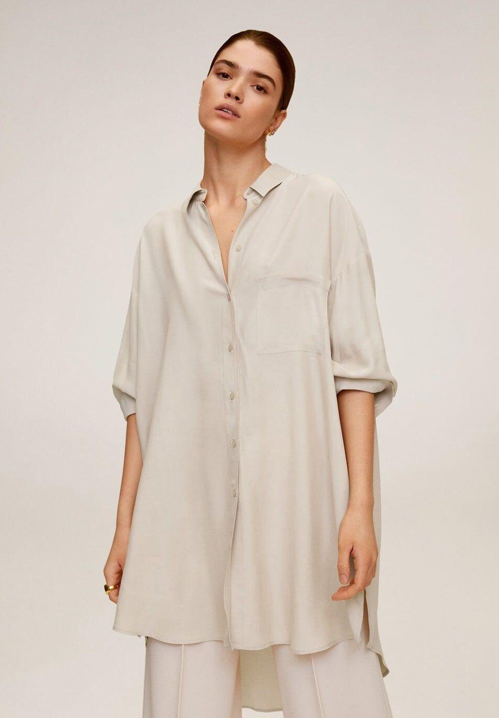 Mango ANNETA - Button-down blouse - beige - Zalando.co.uk