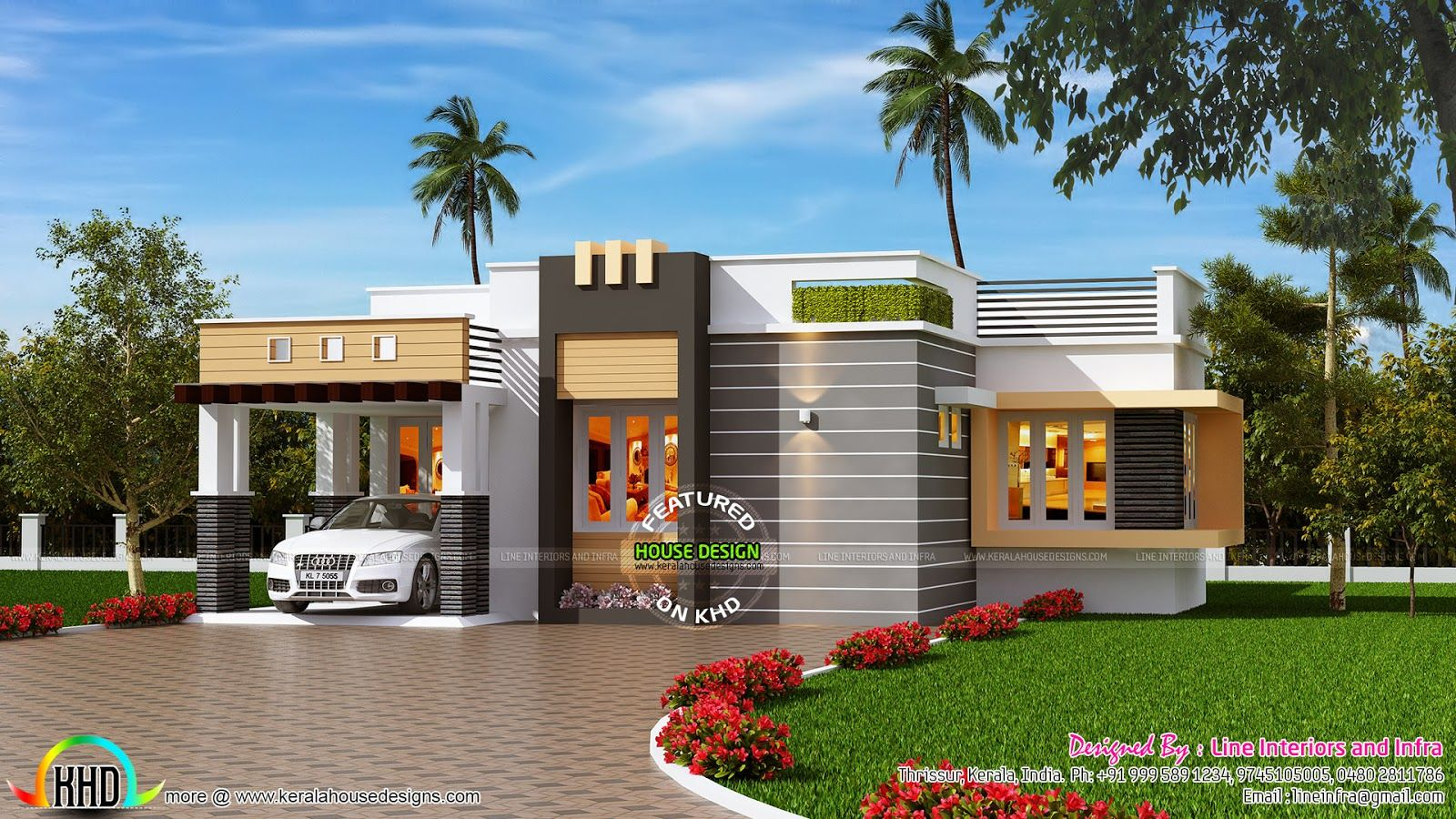 1100 sq ft contemporary style small house house for Single floor house elevations indian style