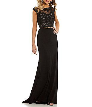 5df9e89b43d Coya Collection Embroidered Illusion Bodice Long Two-Piece Dress Formal Prom