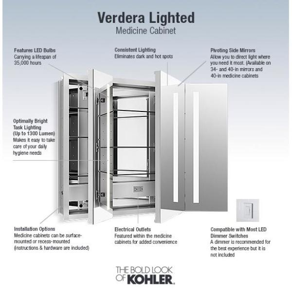 Kohler Verdera 40 In Lighted Mirror Cabinet 99011 Tl Na The