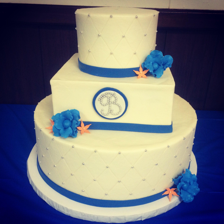 Royal blue and orange wedding cake | My Cakes | Pinterest | Cake