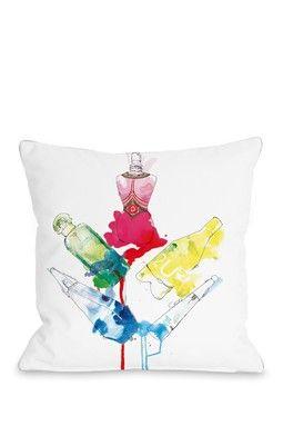 Rainbow Perfumes White Multi Square Pillow