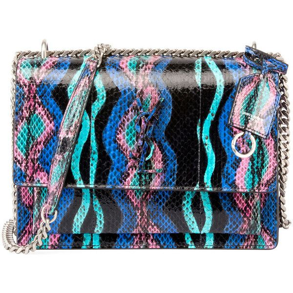 3271de67f3c Saint Laurent Sunset Medium Curvy Striped Snakeskin Crossbody Bag ($3,655)  ❤ liked on Polyvore