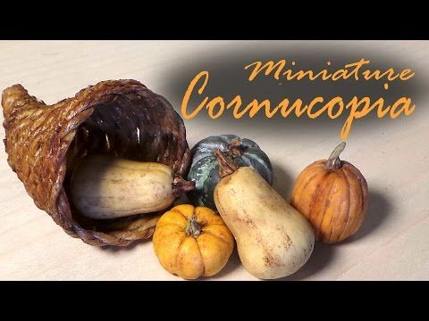 EASY; Miniature Cornucopia & Polymer Clay Squash/Pumpkins - Tutorial - YouTube