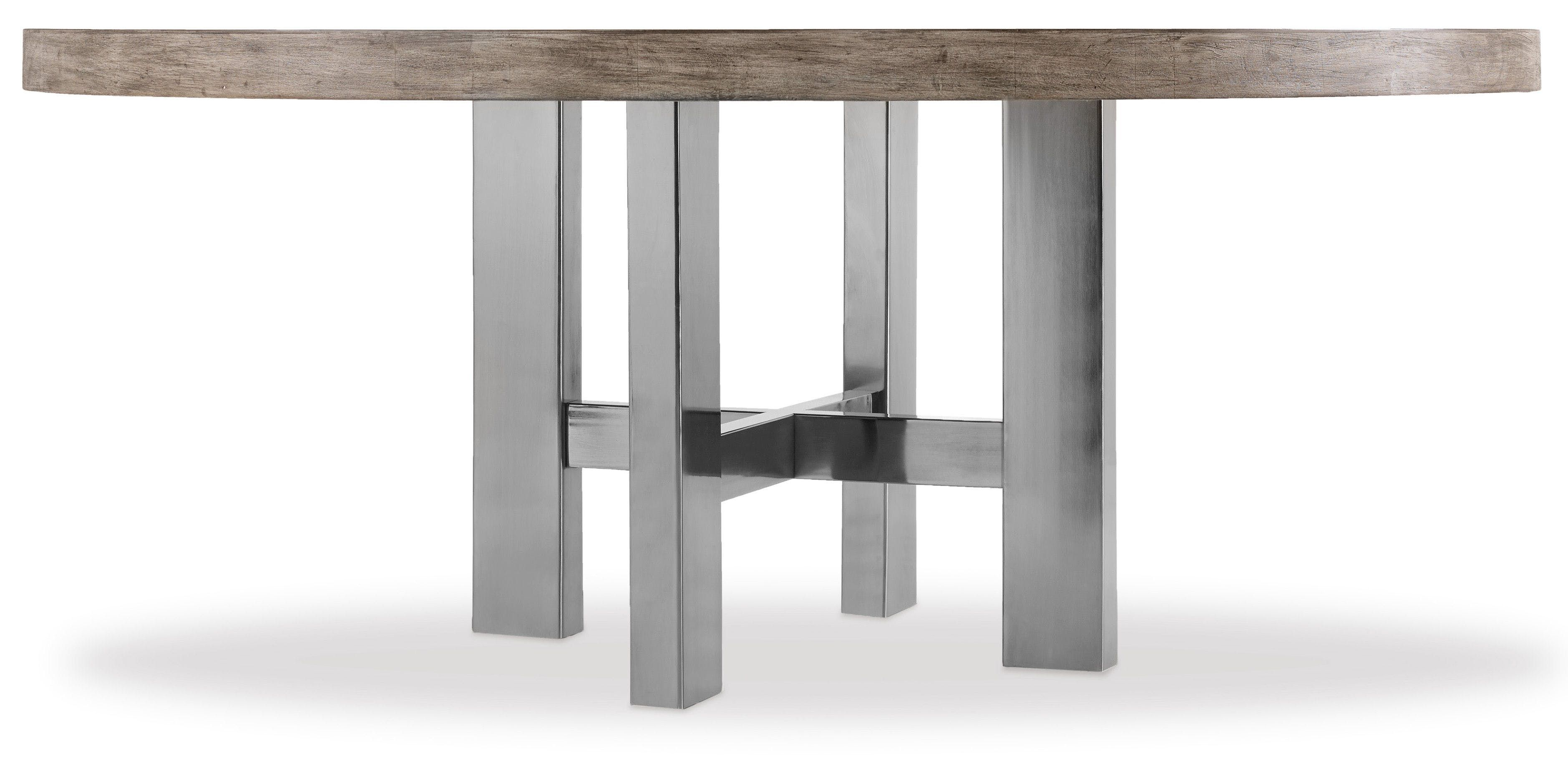 72 inch and 62 inch round dining tables combine the mountain modern finish on top with a plated black nickel base