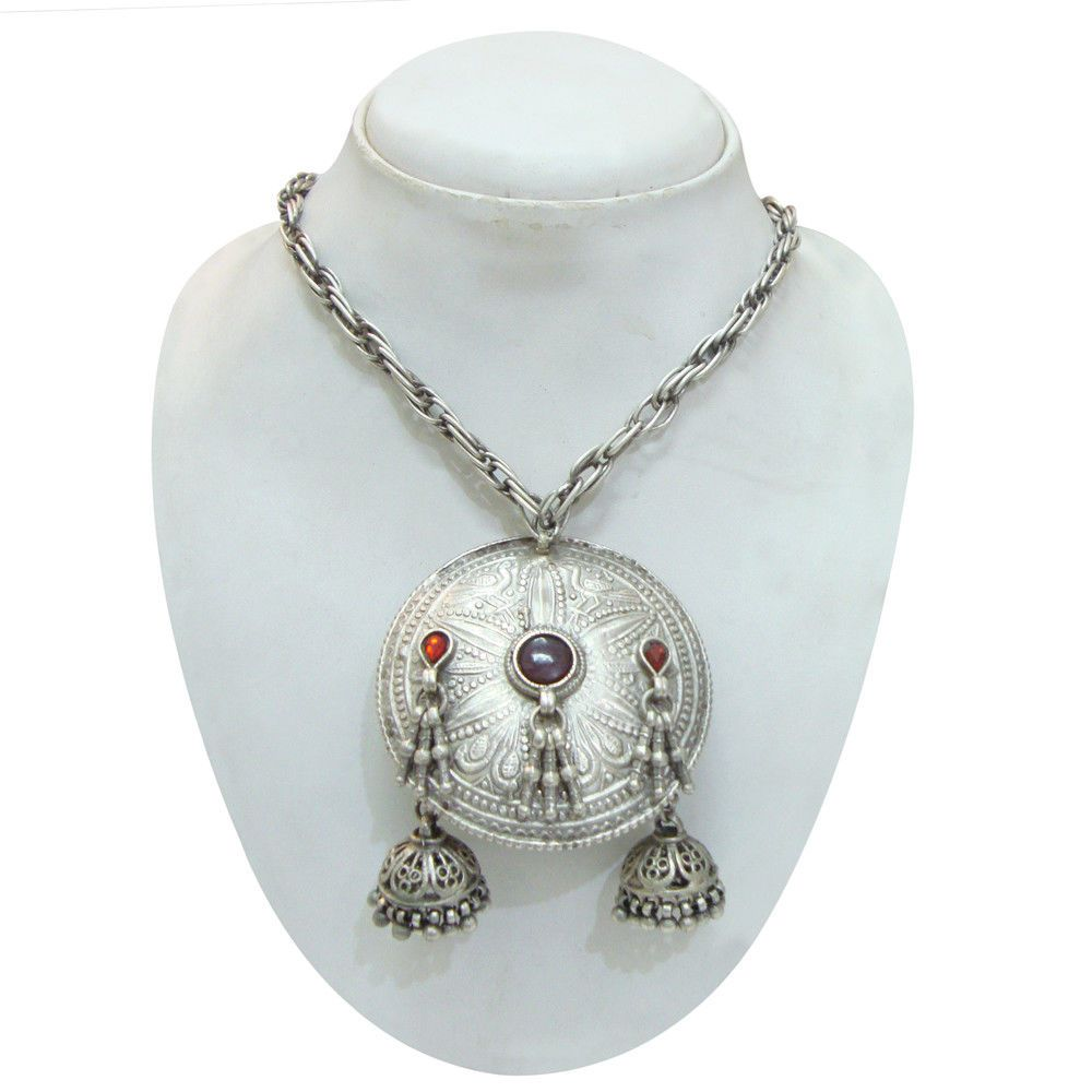 Wedding Gift,Antique Old Silver Tribal Gypsy Beads Handmade Thread Vintage Look Necklace Jewelry