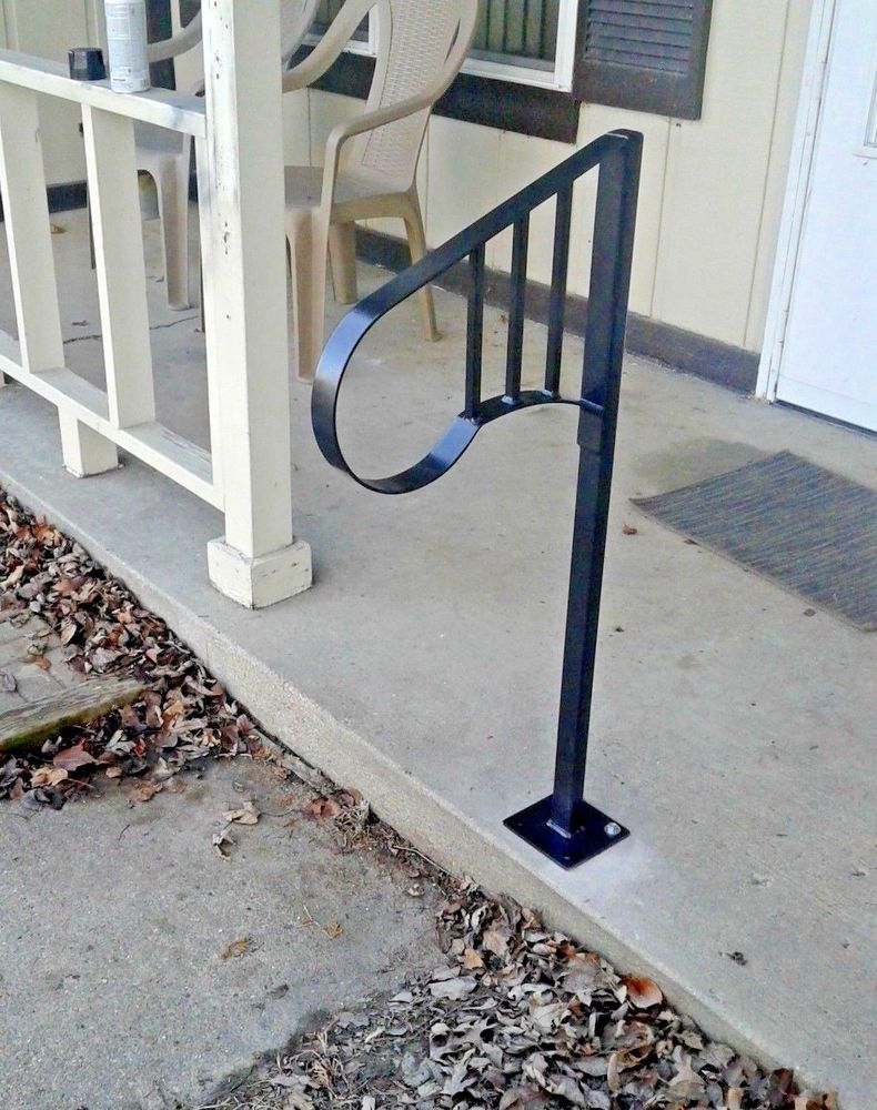 Best New Wrought Iron 1 2 Steps Handrail Steel Grab Railing 400 x 300