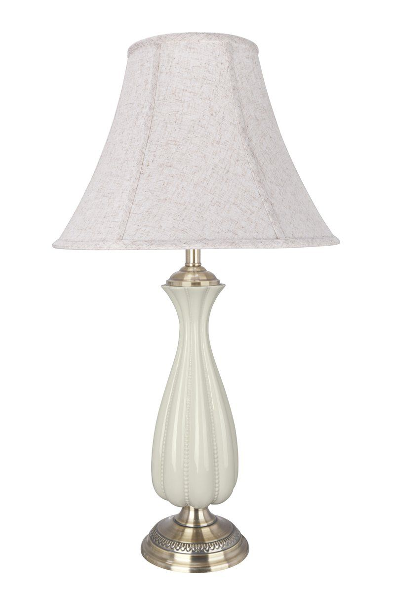 List Price 256your 189 49 66 51 Savings Ivory Finish With Antique Br Base Lampshade Color Type Off White Linen Fabric Bell