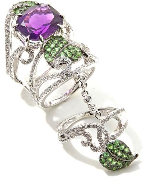 """Rarities: Fine Jewelry with Carol Brodie 6.69ctw Amethyst, Tsavorite and White Zircon """"Leaf"""" Sterling Silver Knuckle Ring"""