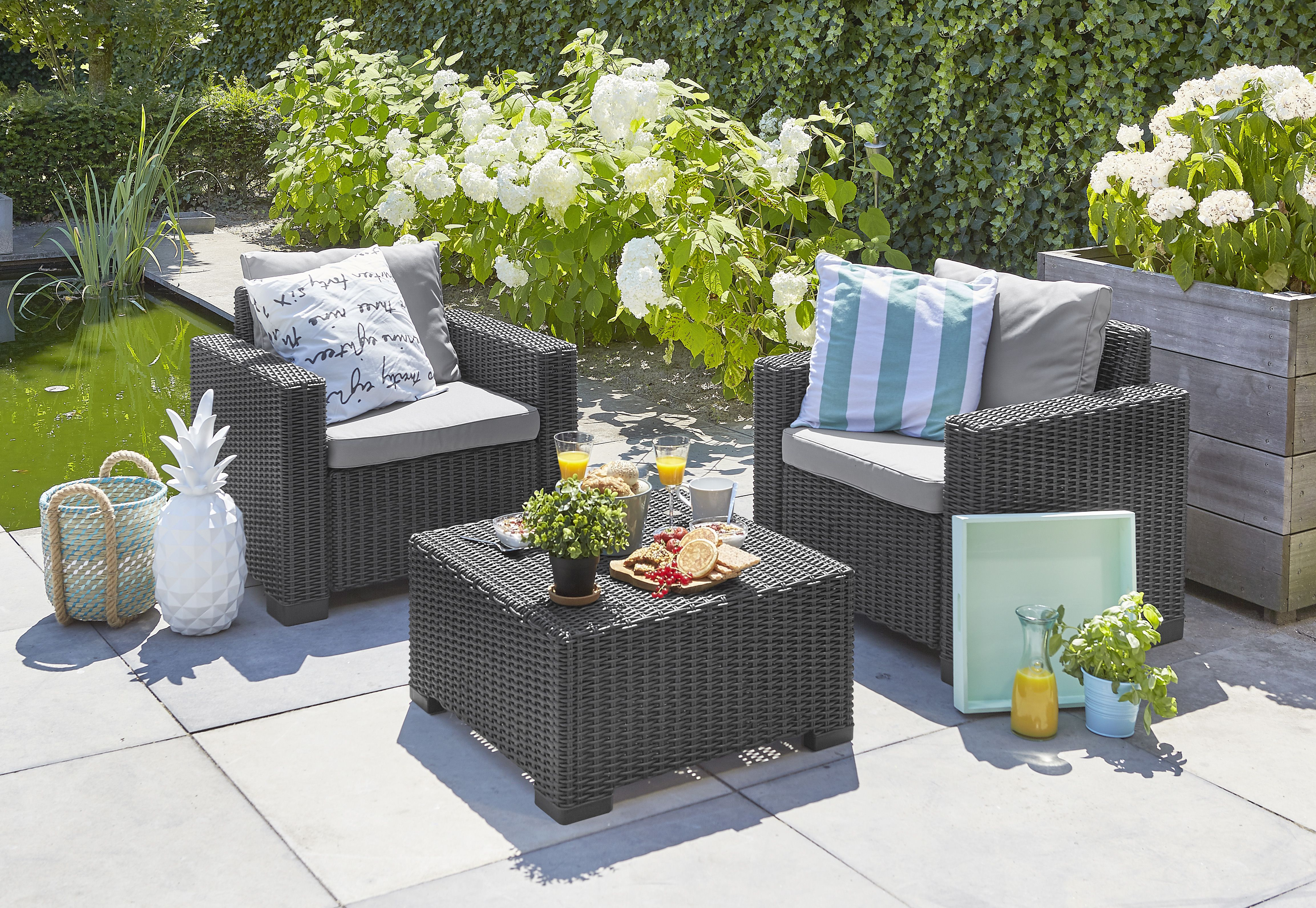A Luxurious Feel And Look In Your Garden Is Easily Created With One Of The Allibert Duo S Patio Furniture Dining Set Painting Wicker Furniture Wicker Furniture