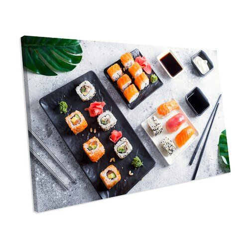 Sushi Food Kitchen' Fotografie auf Leinwand ModernMoments Größe: 96 cm H x 152 cm B