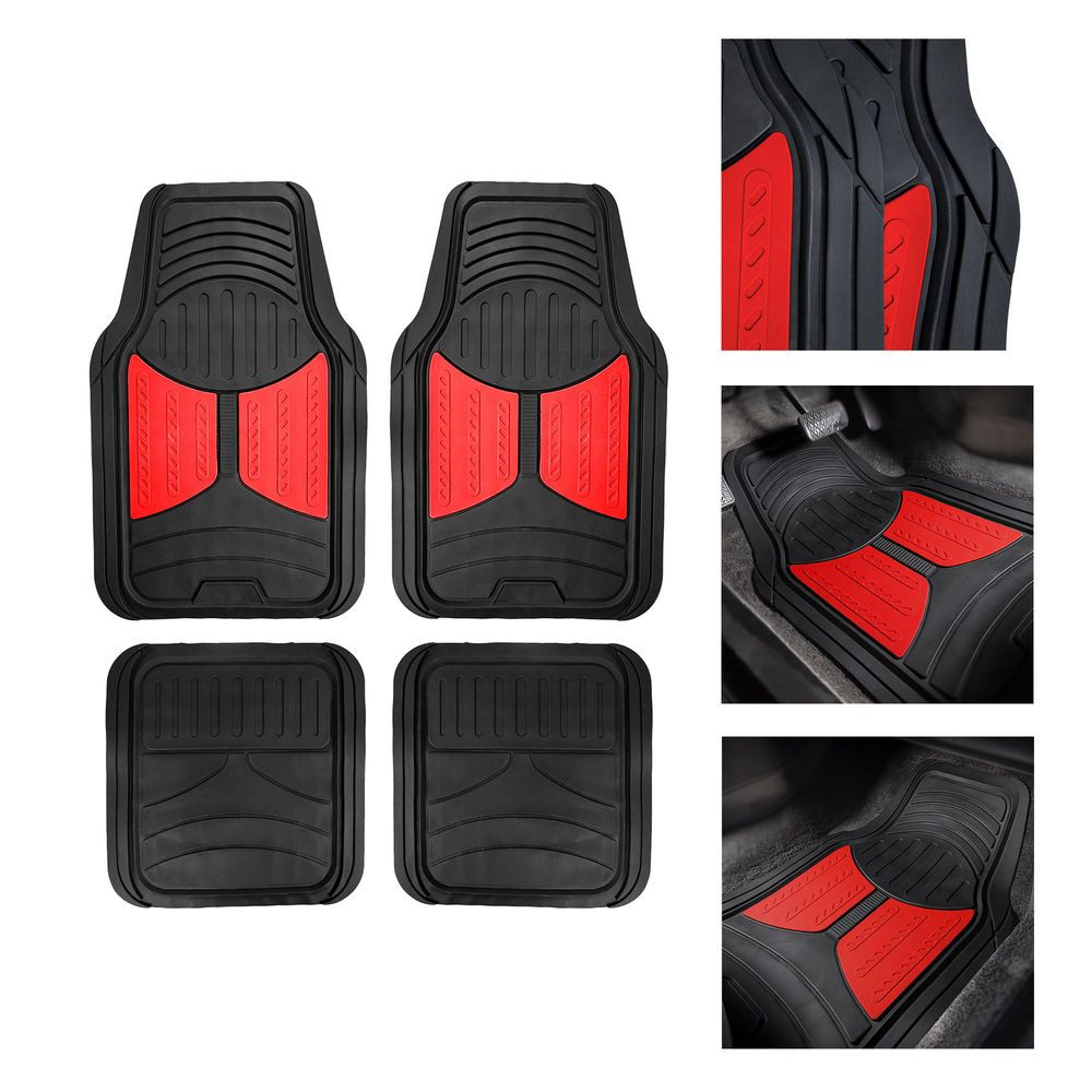2 Tone Black Red Floor Mats For Car Suv Van All Weather Universal Fitment Ebay Black And Red Heavy Duty Floor Mats