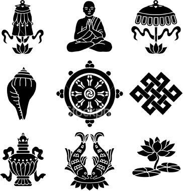 Vector Icons Of The Eight Buddhist Treasures Buddhist Symbols