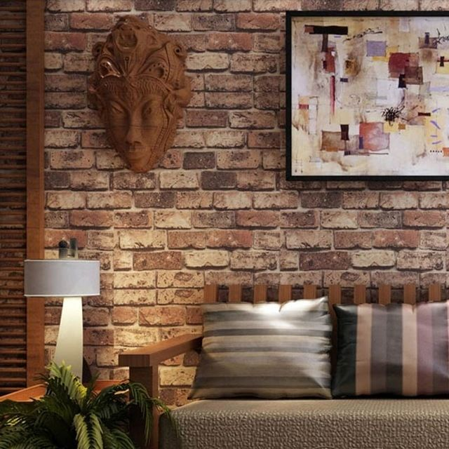 Red brick stone paper wall natural rustic vintage 3d for 3d effect wallpaper for home