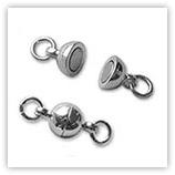 Fermoir aimanté 06 mm & anneaux - Argenté x2