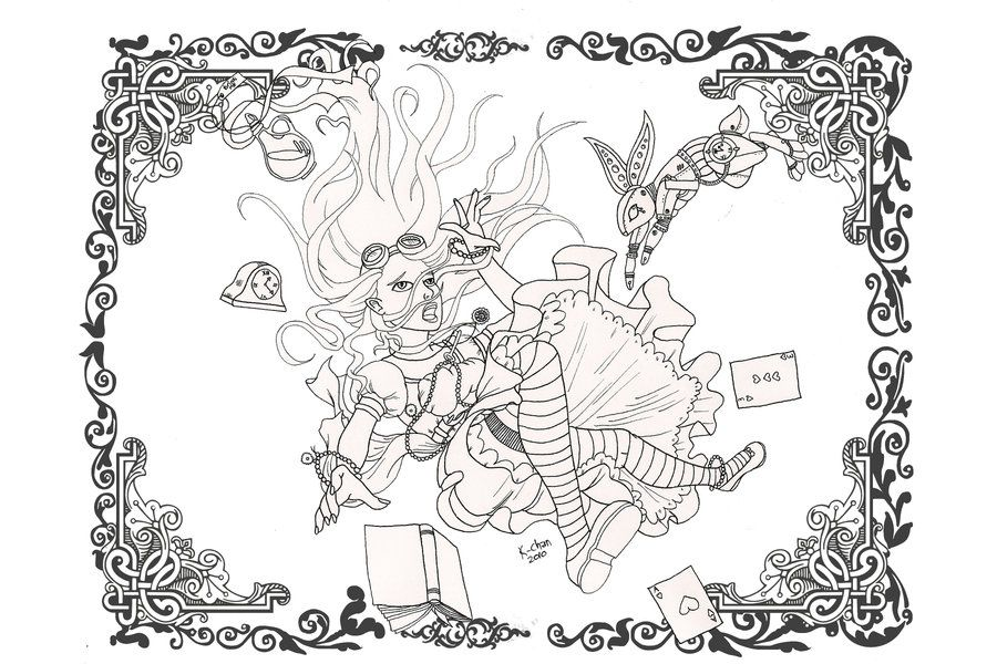 Steampunk Alice Lines By Karla Chan Jpg 900 600 Steampunk Coloring Steampunk Coloring Book Coloring Pages