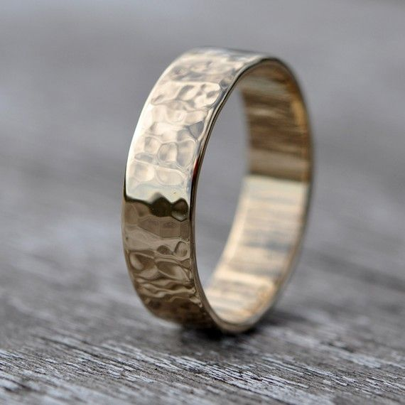 18k Yellow Gold Hammered Texture Hand Forged 6mm Wedding Band Or Ring Size 6 Through