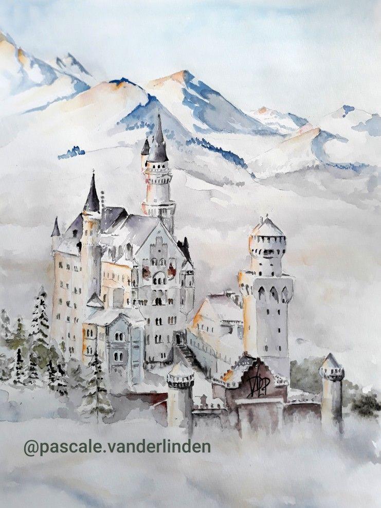 Schloss Neuschwanstein Chateau Montagne Hiver Aquarelle In 2020