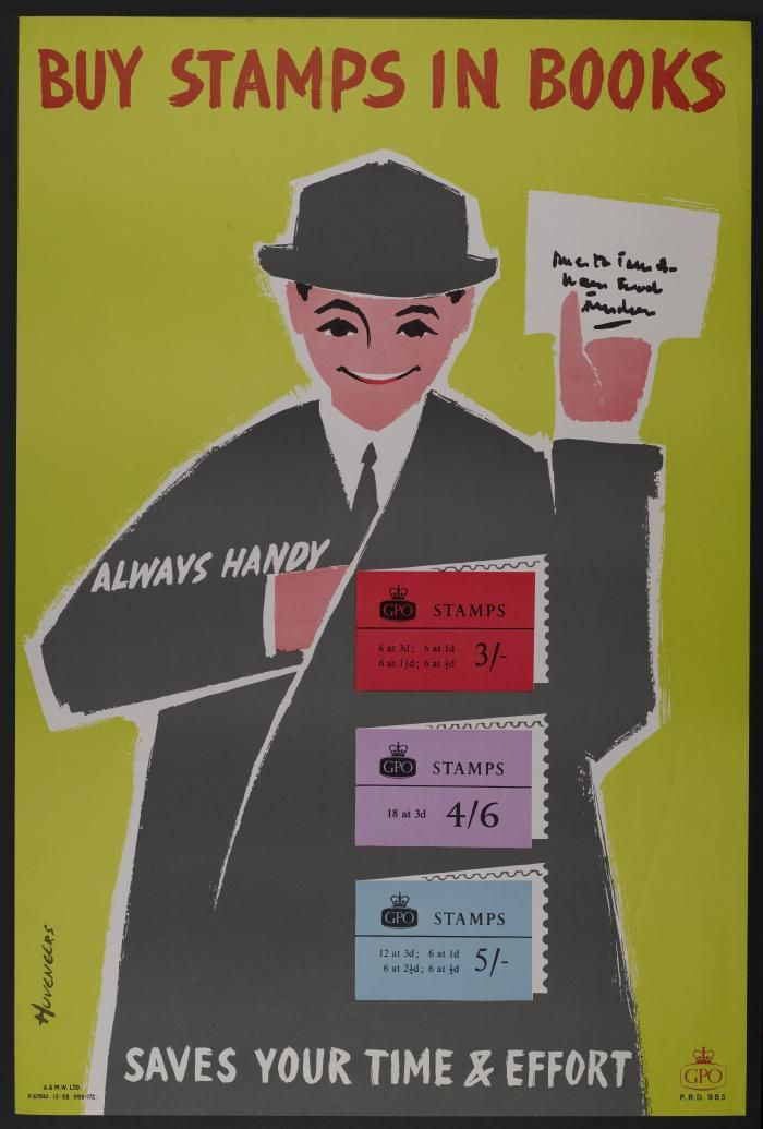 Buy stamps in books GPO poster by Peter Huveneers 1958  Copyright Royal Mail Group Ltd courtesy of the British Postal Museum & Archive