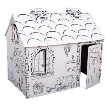 Kids Folding Cardboard Paper House Coloring Playhouse Kit Town Cottage Playhouse Kits Cardboard Houses For Kids Play Houses