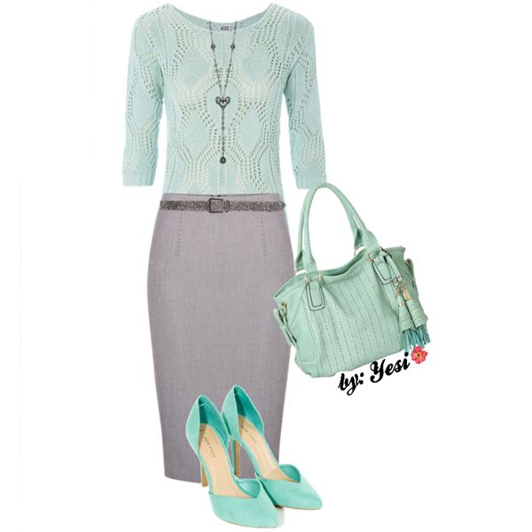 Mint & grey pencil skirt set. 333 #outfits #skirts #bags #shoes #accessories…