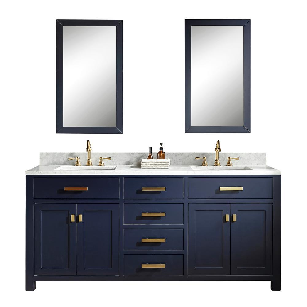 Water Creation 72 In Bath Vanity In Monarch Blue W Carrara White