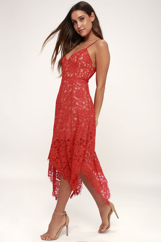 10 Red Graduation Dresses You Ll Look Gorgeous Wearing Red Lace Midi Dress Red Lace Dress Cute Red Dresses