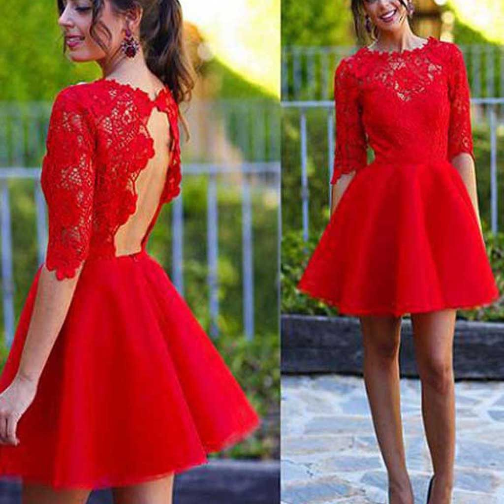 Red half sleeve see through lace open back charming homecoming prom