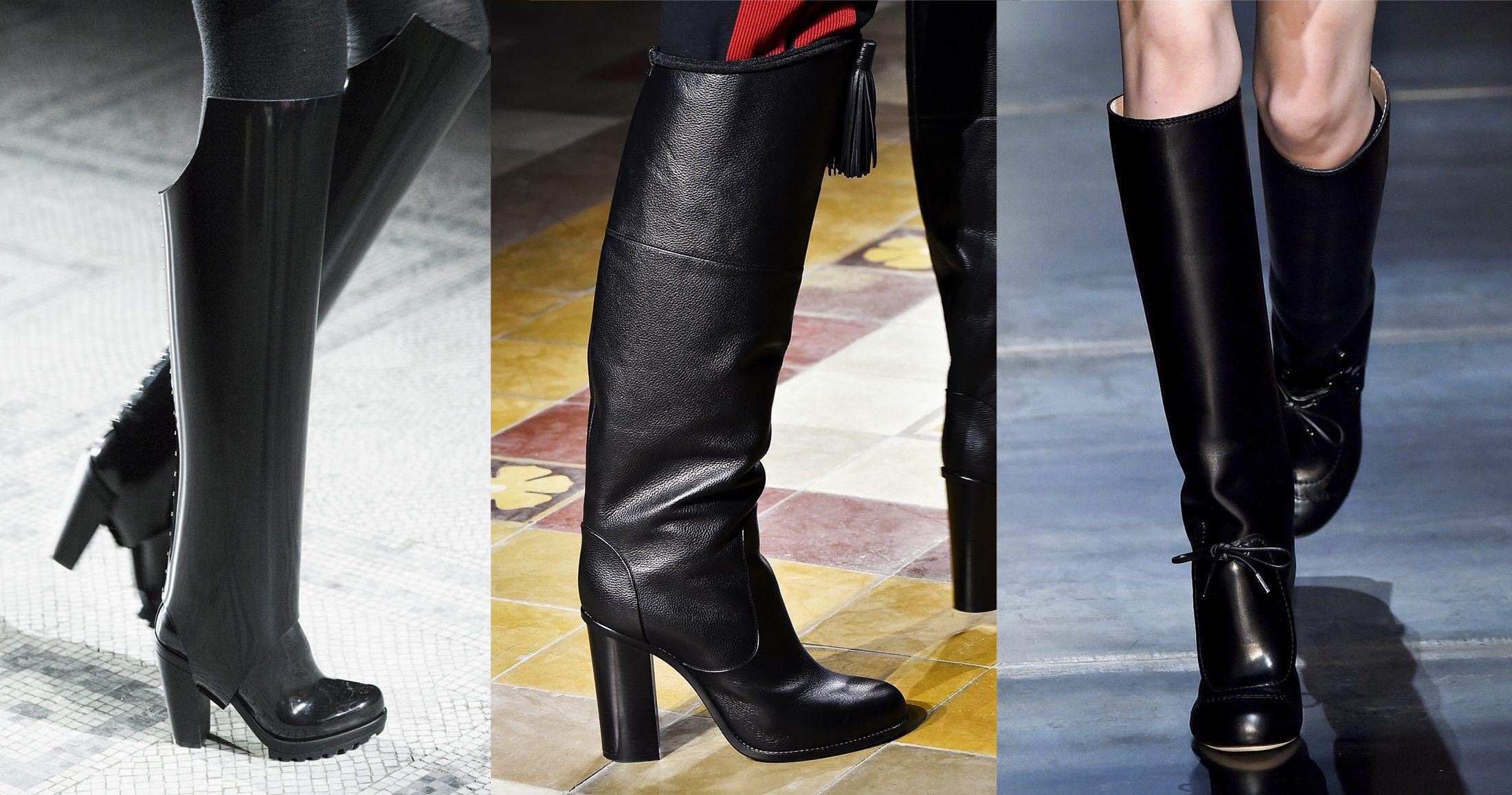 Visti alle sfilate  stivali neri sexy anni 70. Da sinistra in gomma con  ghetta e588e35f569