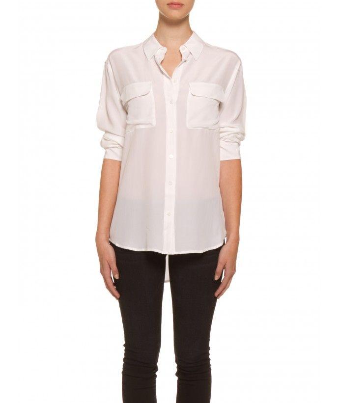 7053e685eab6e The Equipment Femme Signature Silk Blouse in Bright White.   208 at Perch