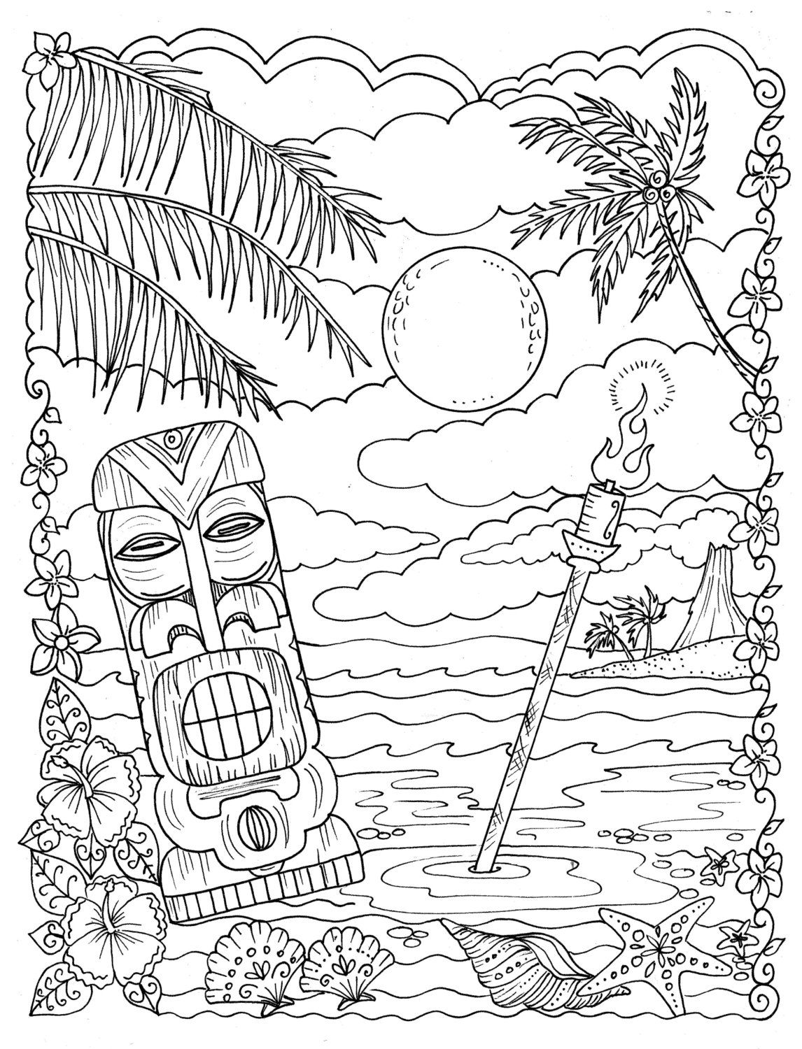 5 Pages Beachy Escape Coloring Digital Color Pages Shells Ocean