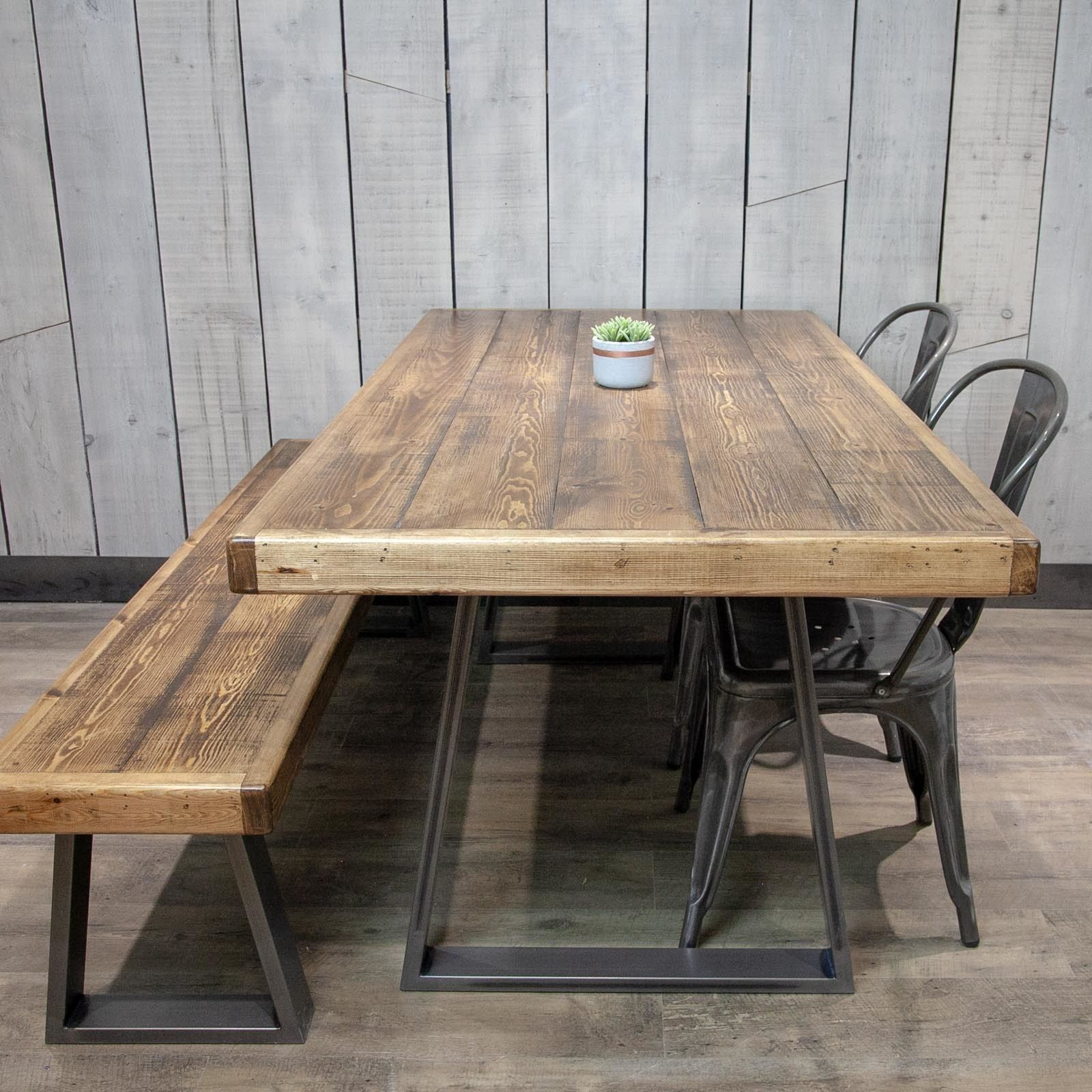 Trapezium Leg Dining Table And Matching Bench 160x85cm Patina