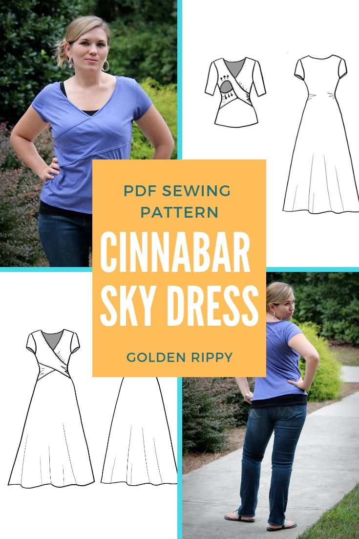 Snag the Cinnabar Sky dress and top pdf sewing pattern. It's a fun crossover design made for ladies. Perfect for that