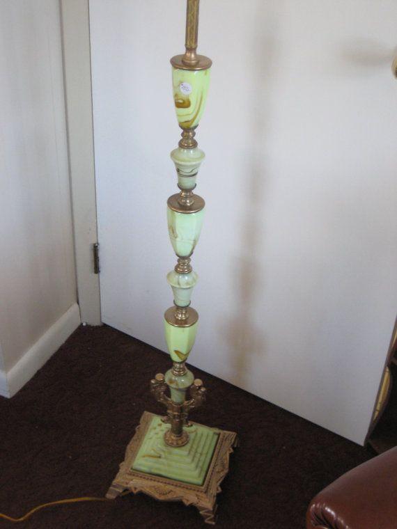 Art Deco Green Slag Glass Pole Floor Lamp Akro Agate