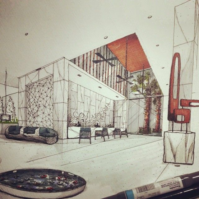Lobby Freehand Sketch Drawing Drafting Perspective Hotel Hoteldesign