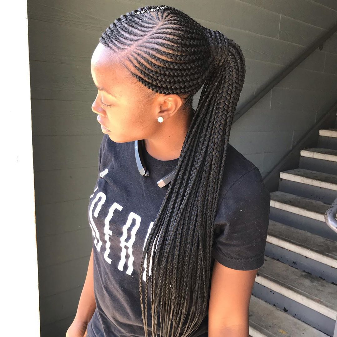 Atlanta Braider On Instagram Low Feedin Ponytail Knotlessbraids T Goddess Braids Hairstyles African Hair Braiding Styles Feed In Ponytail