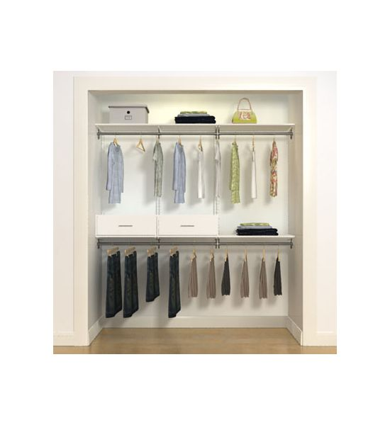 freedom Rail Mens Closet Style B is a pre-designed closet with lots of hanging storage for suits shoes and other items. All hardware is included.