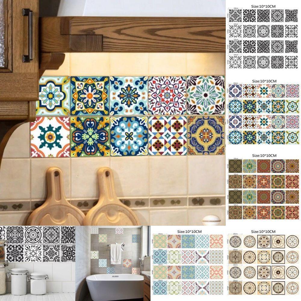 Home Decor Tile: 20Pcs Square Tile Self Adhesive Floor Wall Sticker Mosaic