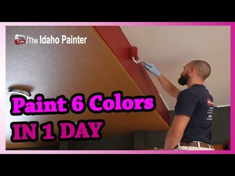 Paint 6 Colors In 2 Rooms In 1 Day How To Paint A Room Super Fast Painting Walls Quick Youtube Room Paint Wall Painting House Painting Tips