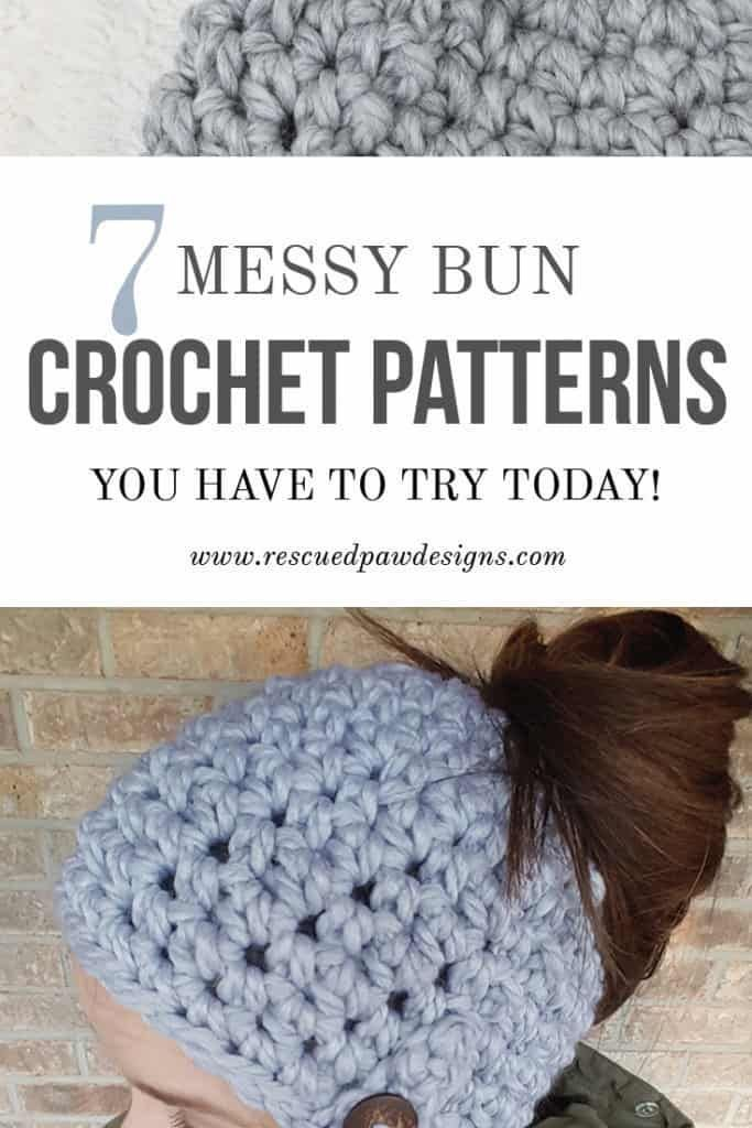 7 Free Messy Bun Crochet Patterns #messybunhat