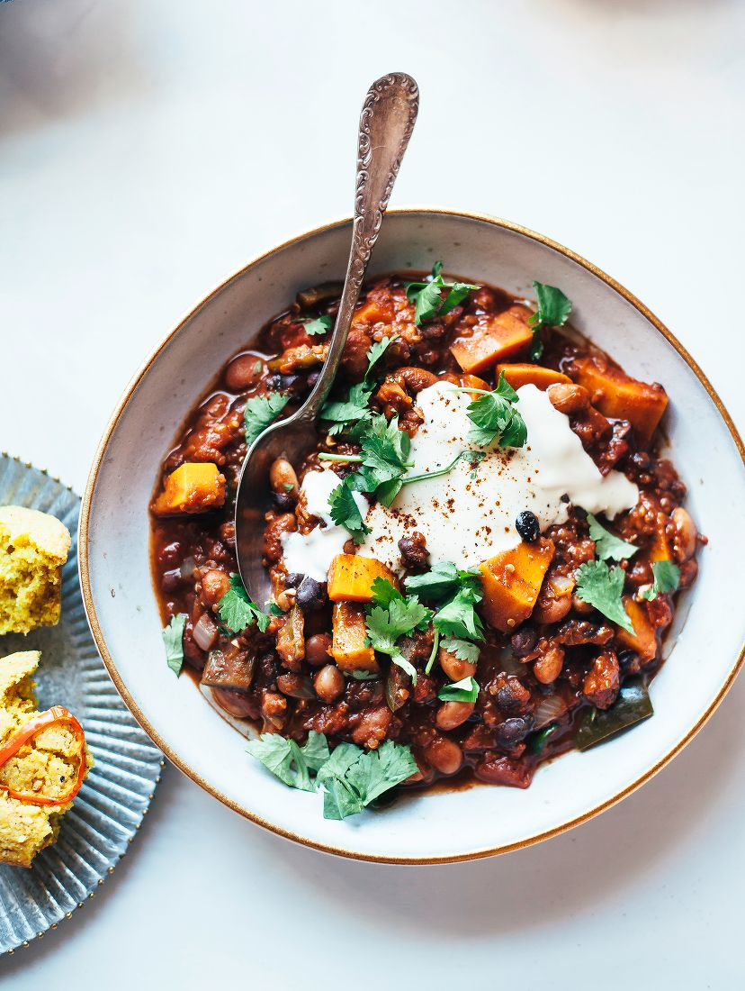 Smoky Squash Chili With Quinoa Pinto And Black Beans