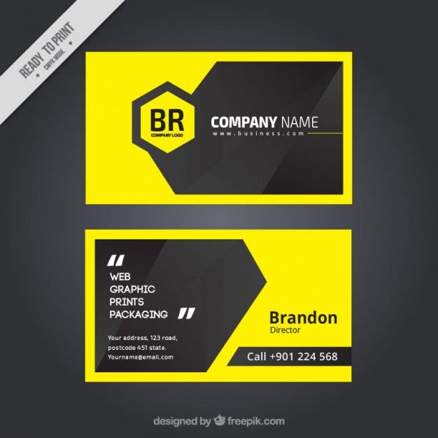 Download Modern Yellow Business Card For Free With Images