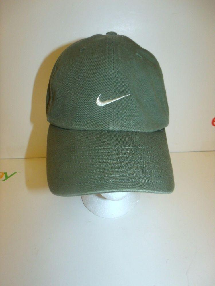 VTG NIKE SWOOSH LOGO Adjustable CAP HAT Army Green  Nike  BaseballCap 1de7b3160d4