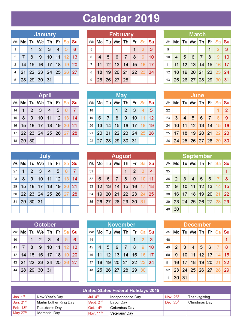2019 Calendar Holidays 2019 calendar, Calendar template