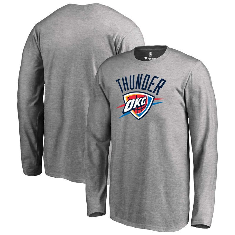 Oklahoma City Thunder Youth Primary Logo Team Essential Long Sleeve T-Shirt - Gray