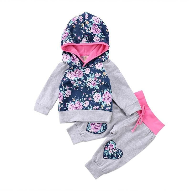 78968783b Lovely Newborn Toddler Baby Boy Girl Clothes Long Sleeve Floral Hooded Tops+Heartdresskily  Baby Outfits