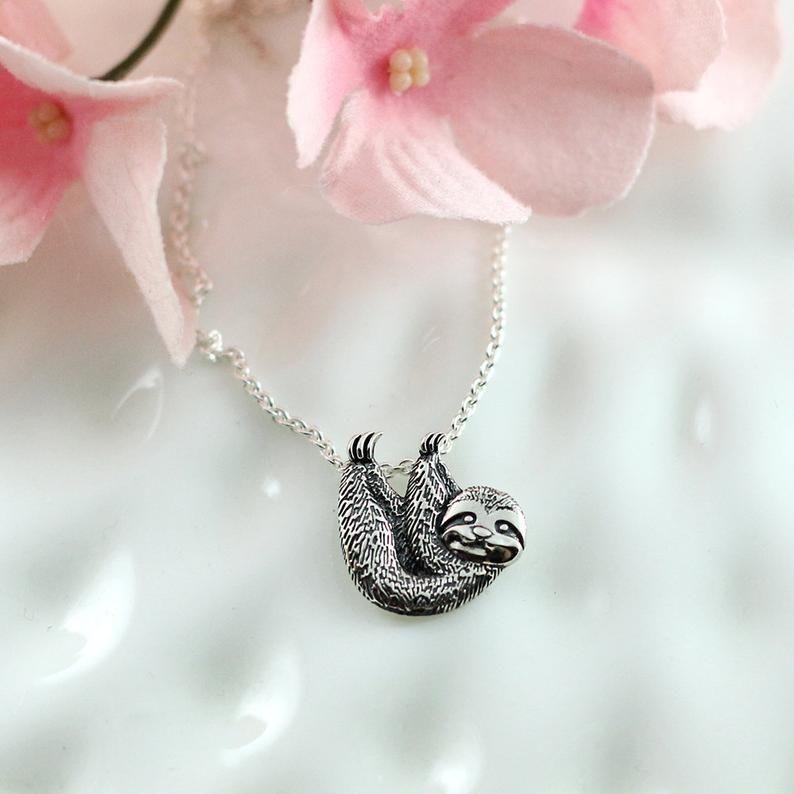 Handstamped Silver Sloth Necklace