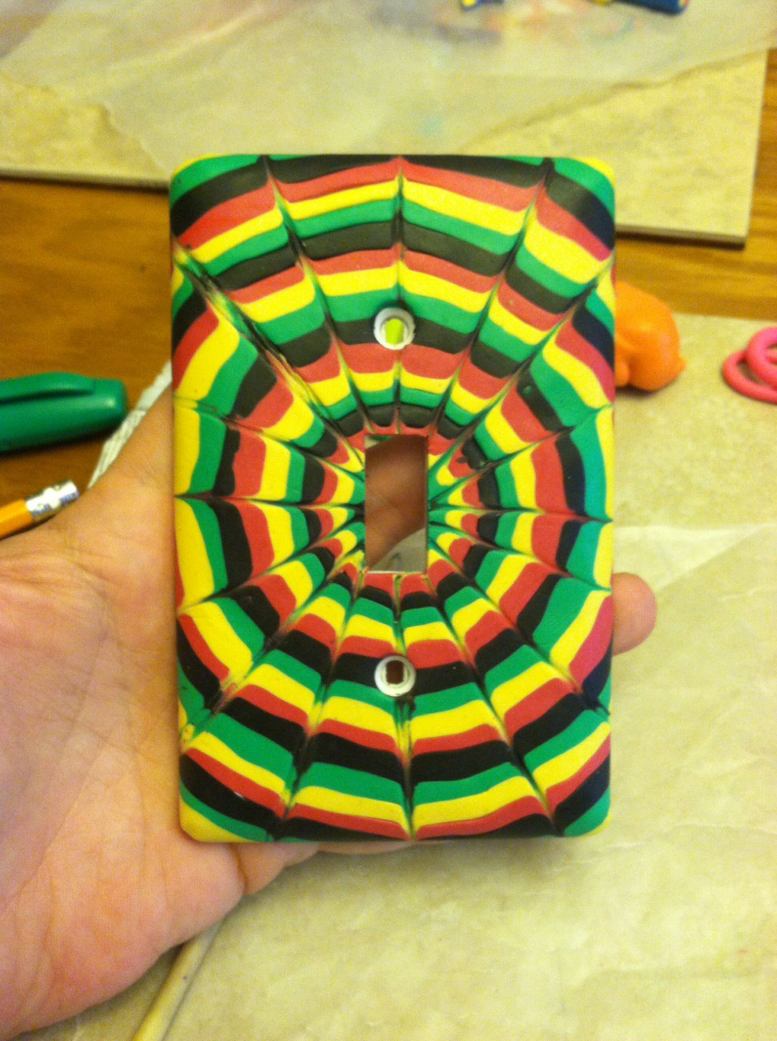 Rasta color single switch plate | Our Handmade Clay Works ...