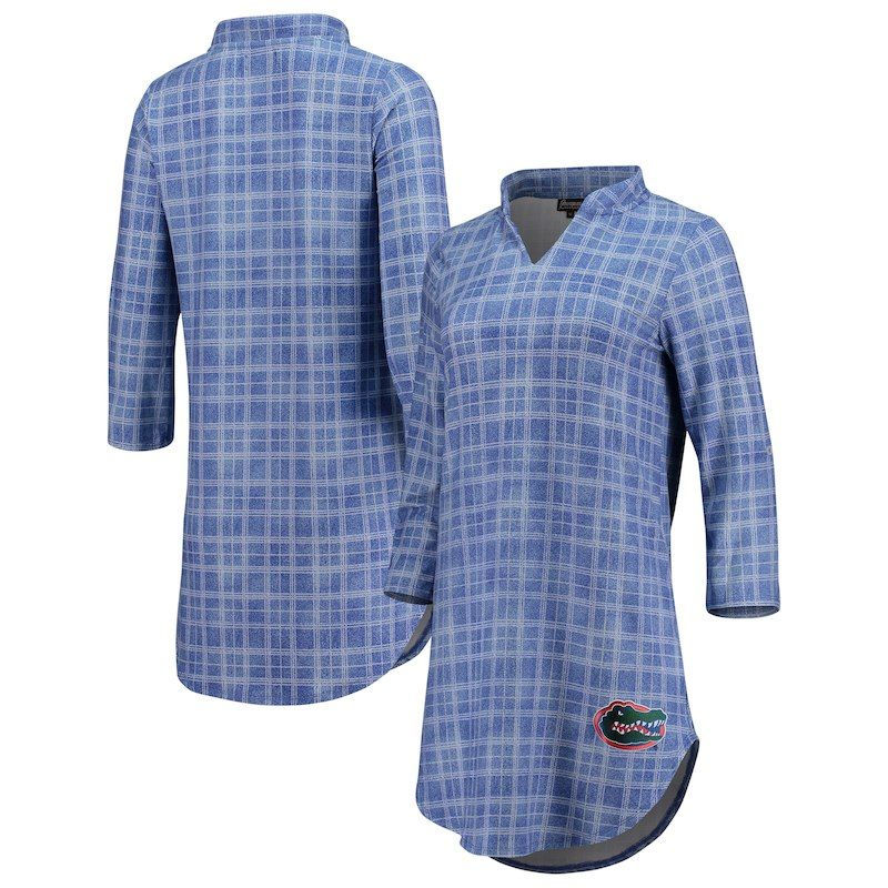 b07a60643a6154 Florida Gators Women's Best Dressed Plaid V-Neck 3/4-Sleeve Tunic Shirt –  Royal