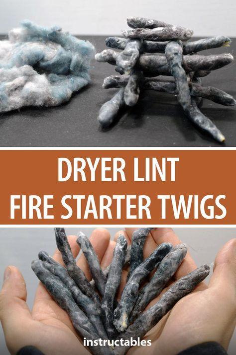 Dryer Lint Fire Starter Twigs